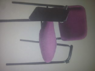 Side writing chair with steel pipe four leg base